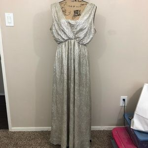 Lulu's maxi shimmer gold dress